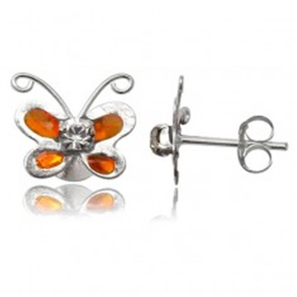 Šperky eshop Strieborné náušnice 925 - oranžový motýlik s čírym zirkónom