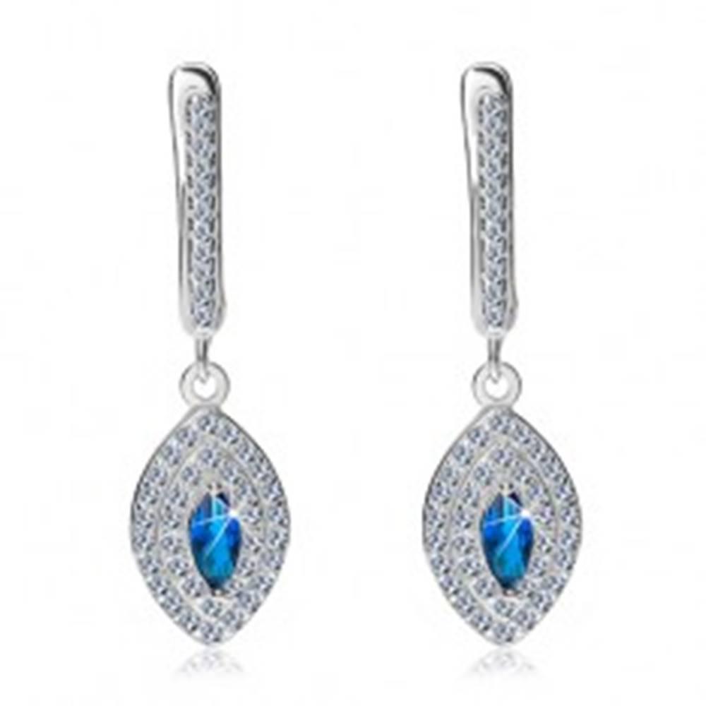 Šperky eshop Strieborné náušnice 925 - trblietavé zirkónové zrno, zirkón v modrej farbe