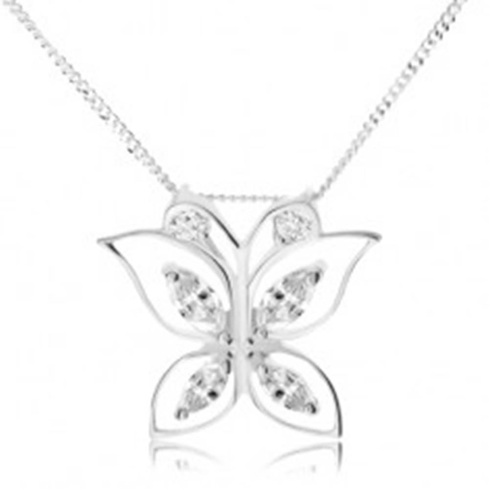 Šperky eshop Strieborný 925 náhrdelník, trblietavý motýľ, číre zirkóny v obrysoch krídel