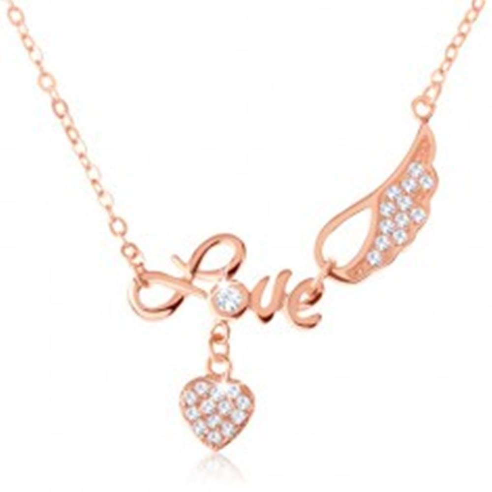 "Šperky eshop Strieborný náhrdelník 925, medená farba, nápis ""Love"", anjelské krídlo, srdce"