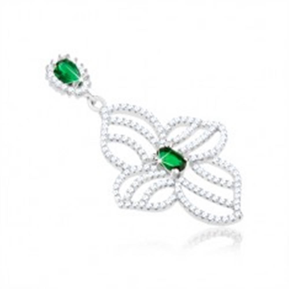 Šperky eshop Strieborný prívesok 925, obrys nesúmerného kvetu, číre a zelené zirkóniky