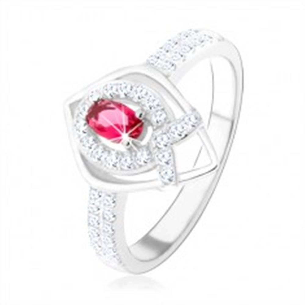 """Šperky eshop Strieborný prsteň 925, obrys špicatej slzy, ružový zirkón, línia v tvare """"V"""" - Veľkosť: 50 mm"""