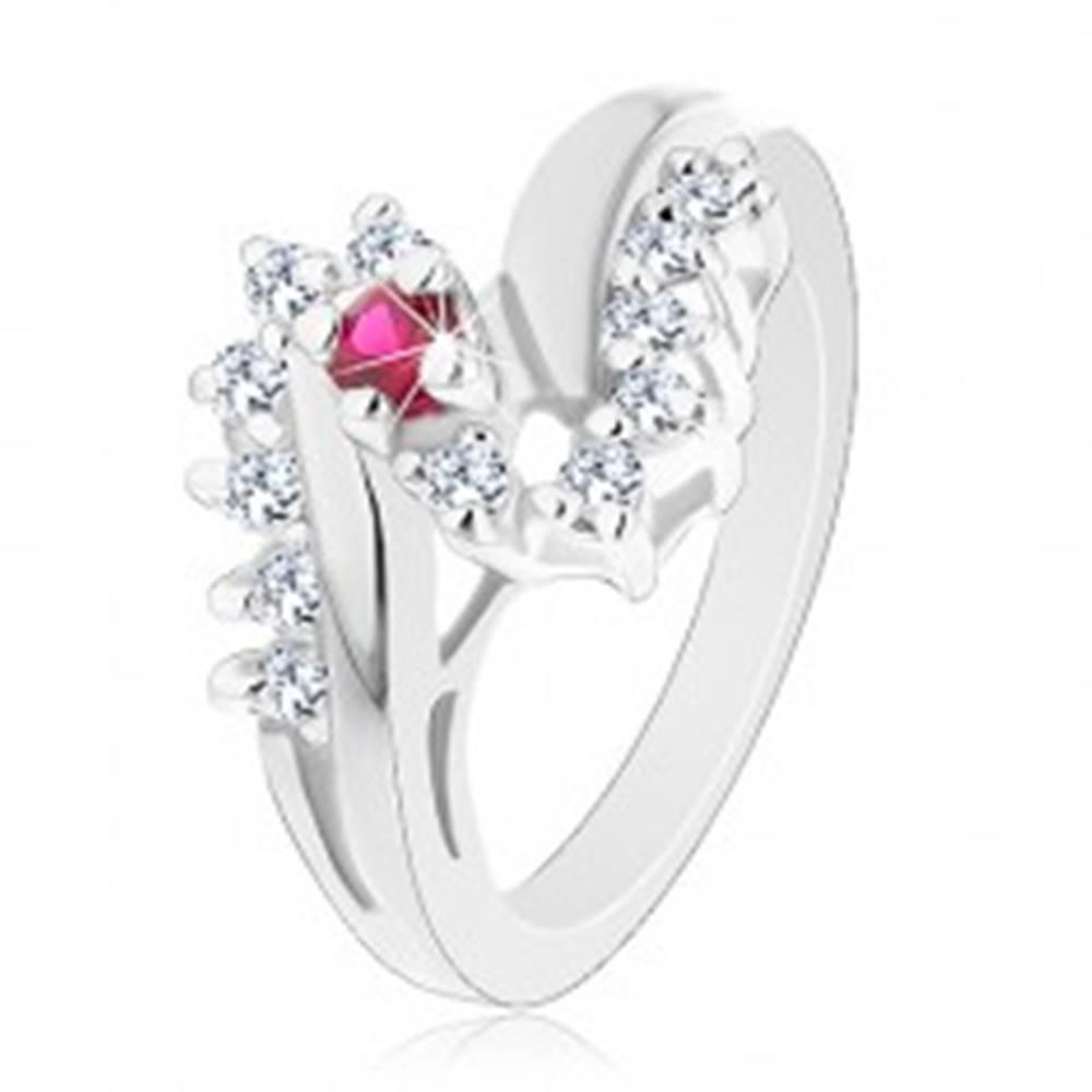 Šperky eshop Trblietavý prsteň s rozdelenými ramenami, červený okrúhly zirkón, číra línia - Veľkosť: 51 mm