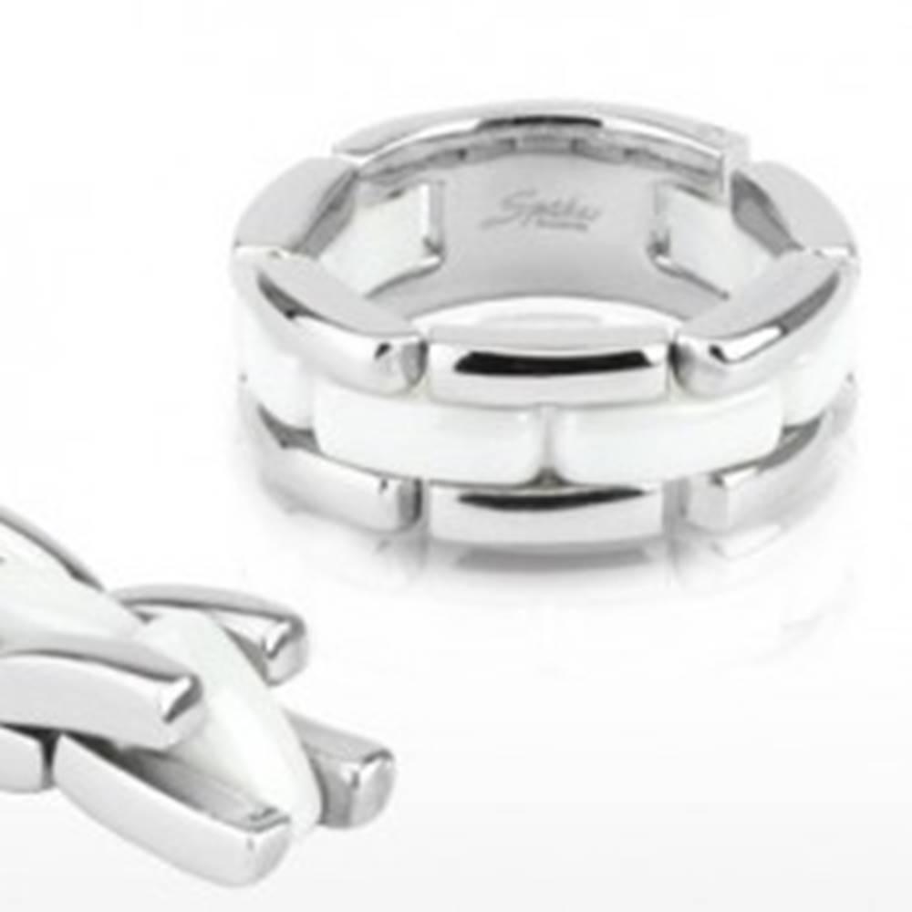 Šperky eshop Trojradový oceľovo - keramický prsteň, flexibilný - Veľkosť: 48 mm