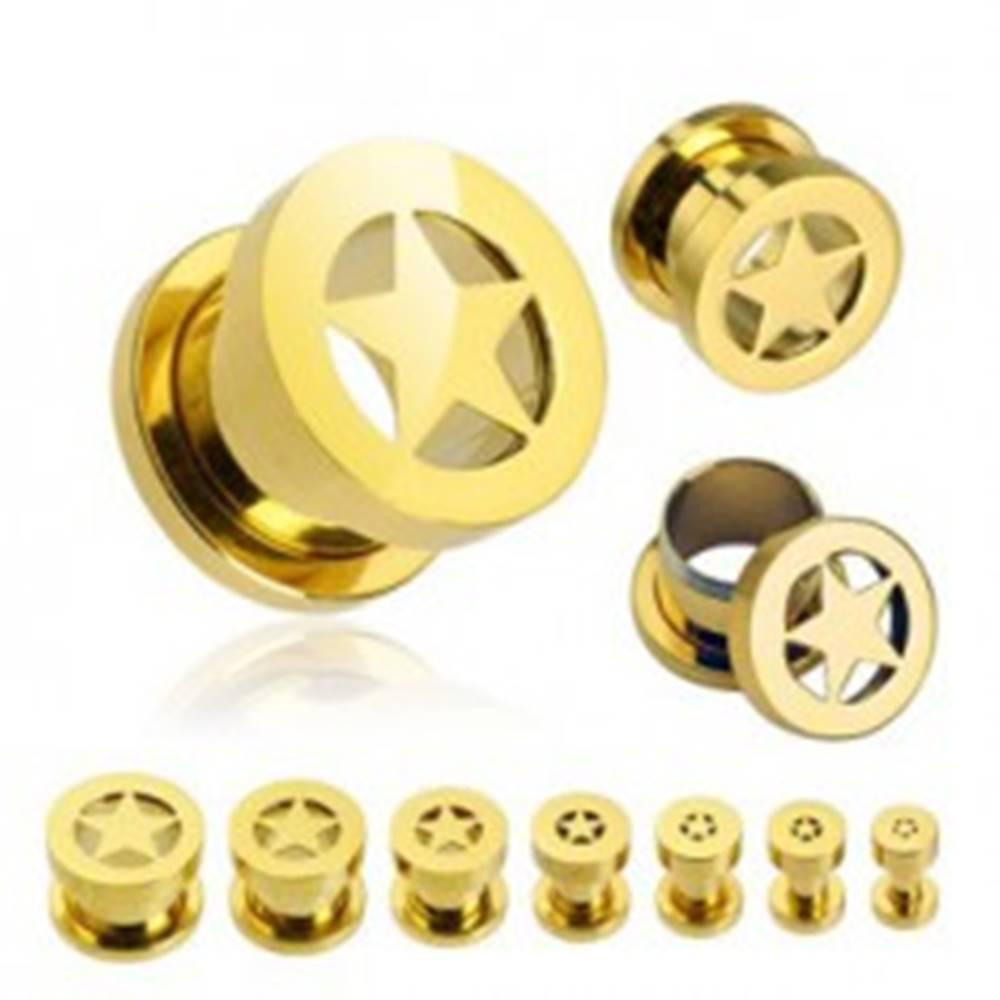 Šperky eshop Tunel do ucha - hviezda v zlatej farbe - Hrúbka: 10 mm