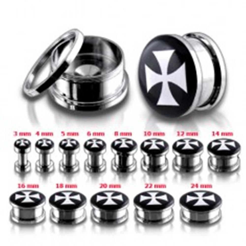 Šperky eshop Tunel plug do ucha z chirurgickej ocele s bielym maltézskym krížom - Hrúbka: 10 mm