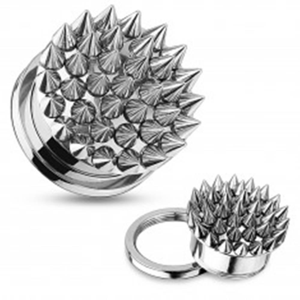 Šperky eshop Tunel plug do ucha z ocele 316L, strieborná farba, povrch zdobený ostňami - Hrúbka: 10 mm