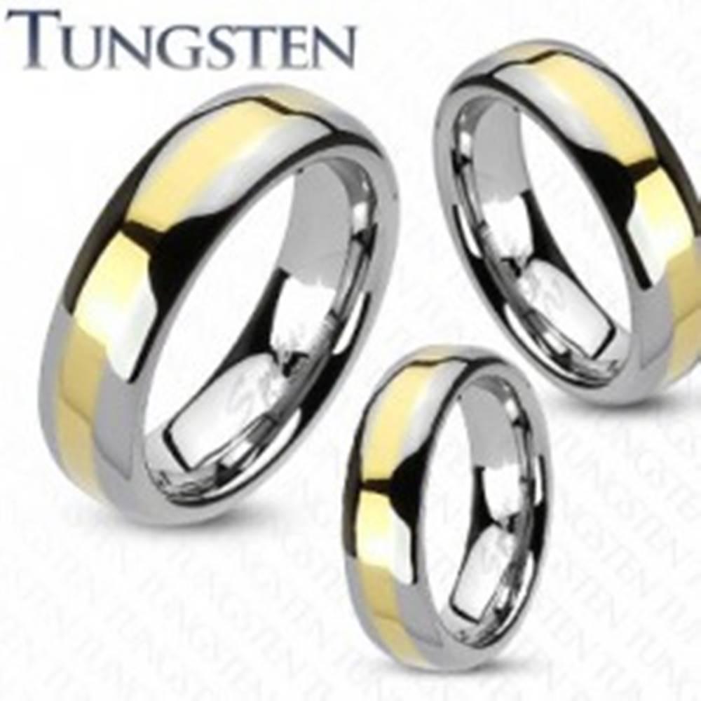 Šperky eshop Wolfrámová obrúčka - prúžok zlatej farby - Veľkosť: 49 mm