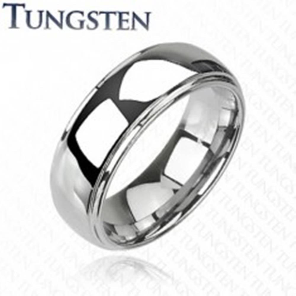 Šperky eshop Wolfrámový prsteň s vyvýšeným stredom, zrkadlový lesk, 8 mm - Veľkosť: 49 mm