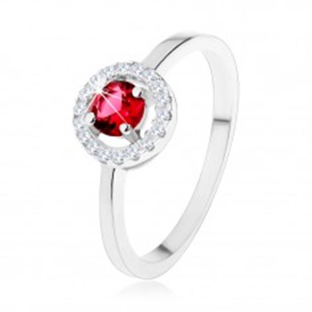 Šperky eshop Zásnubný prsteň zo striebra 925, okrúhly červený zirkón, číry lem - Veľkosť: 49 mm