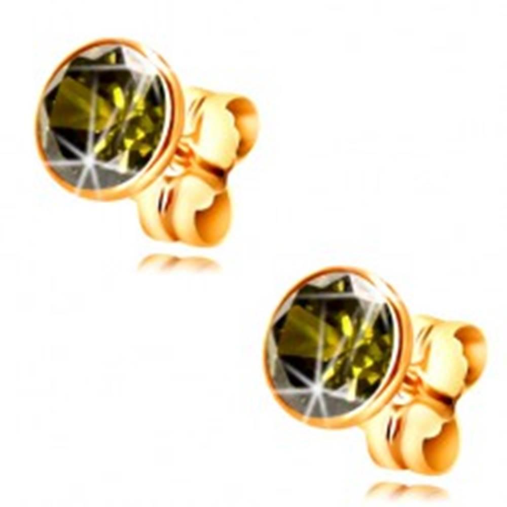 Šperky eshop Zlaté 14K náušnice - okrúhly zirkón olivovej farby v objímke, 5 mm