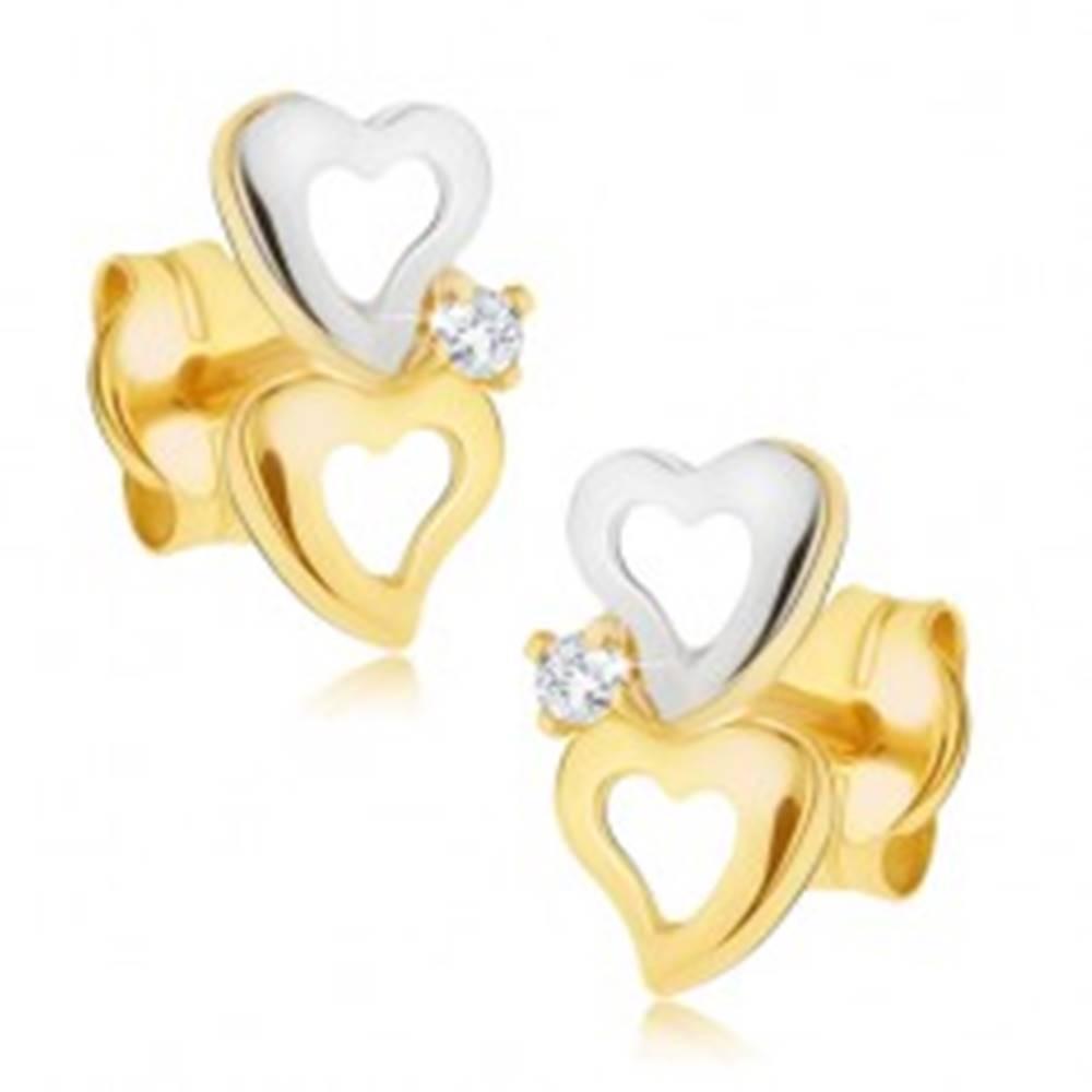 Šperky eshop Zlaté dvojfarebné náušnice 585 - obrysy nepravidelných sŕdc, malý zirkónik
