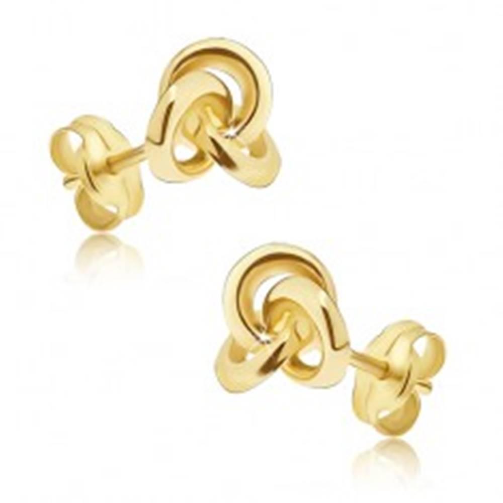 Šperky eshop Zlaté náušnice 585 - zrkadlovolesklý uzol z troch obručí