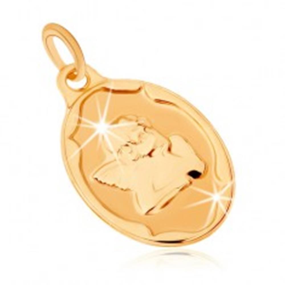 Šperky eshop Zlatý prívesok 375 - oválna známka, anjelik podopierajúci si hlavu