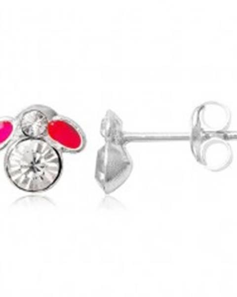 Šperky eshop Puzetové náušnice zo striebra 925 - malá ružová muška