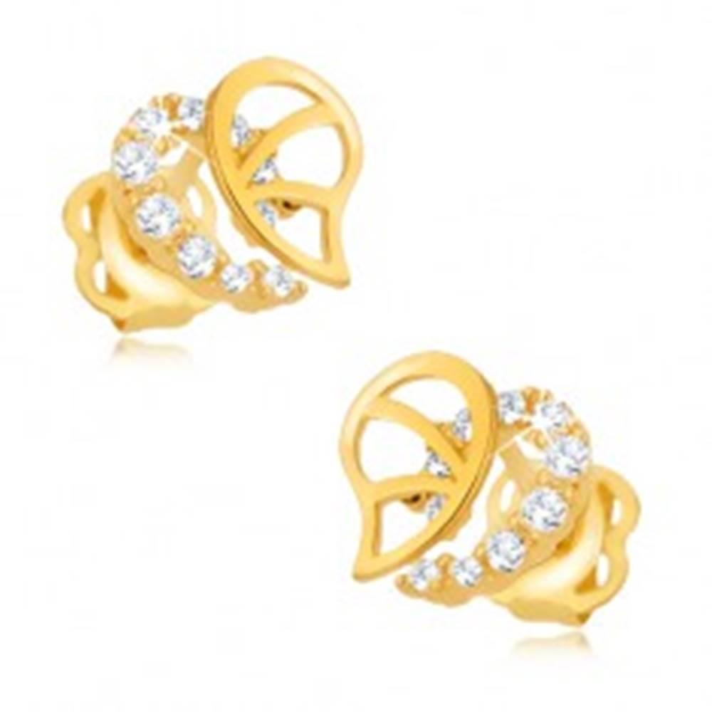 Šperky eshop Briliantové náušnice, 14K zlato - nepravidelná kontúra srdca s diamantmi a výrezmi