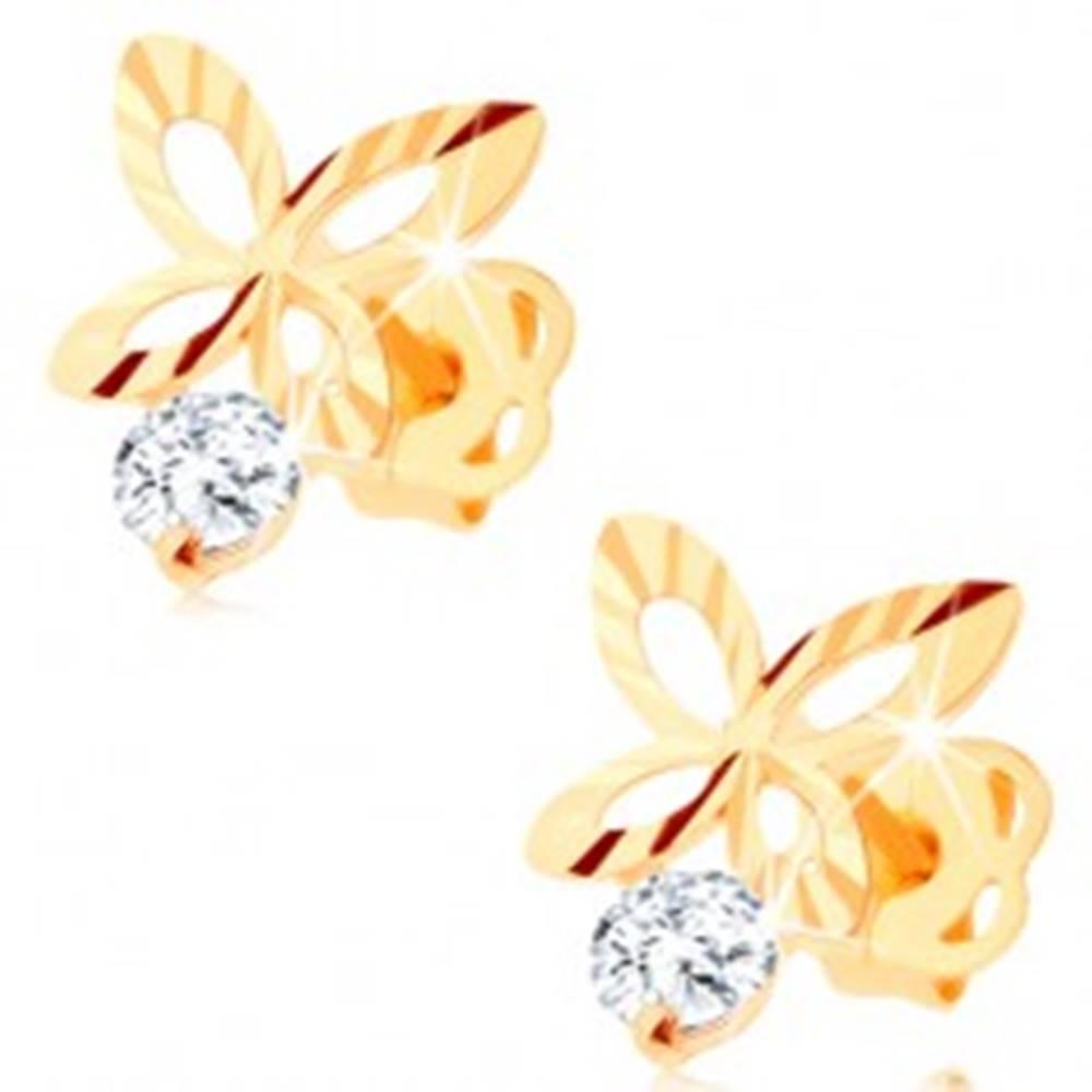 Šperky eshop Briliantové zlaté náušnice 585 - ligotavý obrys motýľa, číry diamant