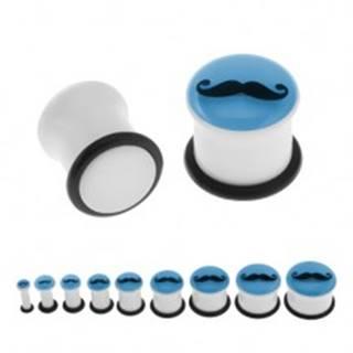 Biely piercing do ucha - plug, fúzy, gumička, modrá predná časť žiariaca v tme - Hrúbka: 10 mm