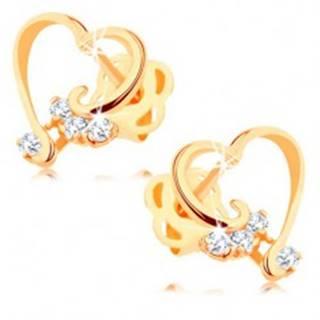 Briliantové náušnice zo 14K zlata - lesklá kontúra srdca, číre diamanty