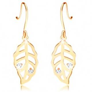 Briliantové zlaté náušnice 585 - listy zdobené výrezmi a čírymi diamantmi