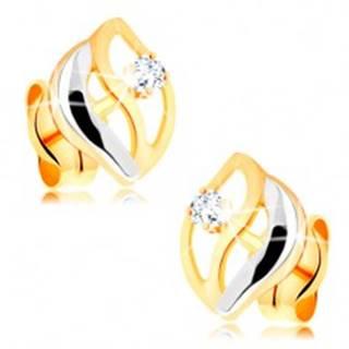 Dvojfarebné náušnice v 14K zlate - tri zvlnené línie, okrúhly číry zirkónik