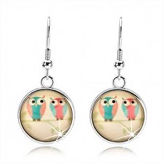 Kabošon náušnice, kruh, obrázok - dve sovičky na konári pod vypuklým sklom
