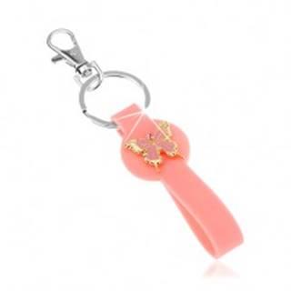 Kľúčenka, ružový prívesok zo silikónu, motýlik zlatej farby, ružová glazúra