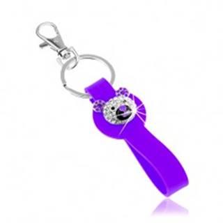 Kľúčenka striebornej farby, fialový silikónový prívesok, ligotavá hlava medvedíka