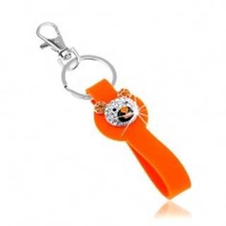 Kľúčenka striebornej farby, oranžový silikónový prívesok, trblietavá hlava macka