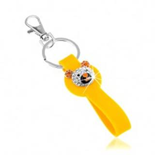 Kľúčenka striebornej farby, žltý prívesok zo silikónu, ligotavá hlava medvedíka