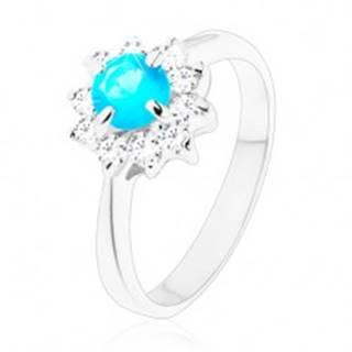 Lesklý prsteň s úzkymi hladkými ramenami, zirkónový kvet modrej a čírej farby - Veľkosť: 49 mm