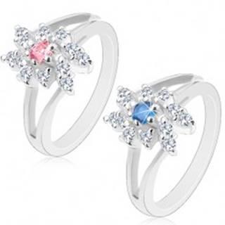 Ligotavý prsteň so zahnutými rozdvojenými ramenami, brúsené okrúhle zirkóny - Veľkosť: 48 mm, Farba: Modrá