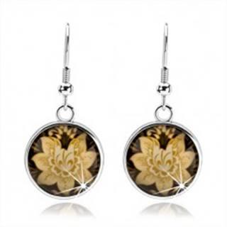 Náušnice kabošon, kruh s afroháčikom, glazúra, žltý kvet, čierny podklad
