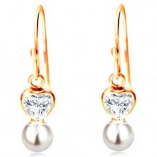Náušnice v žltom 14K zlate - číre srdiečko a biela guľatá perla na háčiku