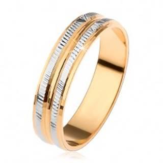 Obrúčka v zlatej a striebornej farbe, ryhované pruhy a zaoblený stredový pás - Veľkosť: 53 mm