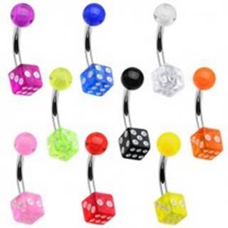 Piercing do bruška - hracie kocky, guľôčka - Farba piercing: Červená