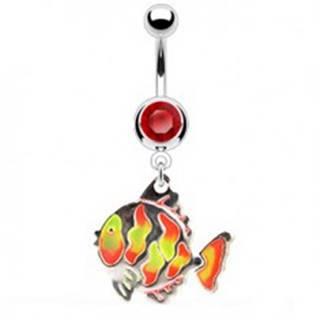Piercing do pupka - rybka, farebné šupinky, zirkón