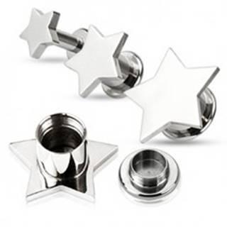 Piercing do ucha - plug z ocele, hladká hviezda - Hrúbka: 10 mm