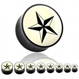 Plug do ucha z organického materiálu - čierna hviezda - Hrúbka: 19 mm
