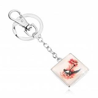 Prívesok na kľúče v štýle kabošon, štvorec, vypuklé sklo, vták na strome