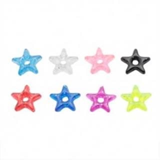 Prívesok na piercing - farebná akrylová hviezdička s trblietkami - Farba: Červená