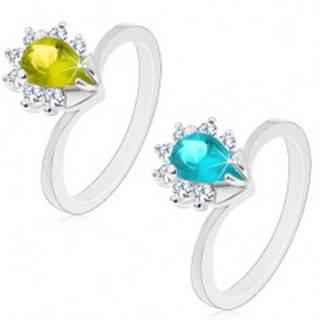 Prsteň v striebornej farbe, farebná zirkónová slza s čírym trblietavým lemom - Veľkosť: 51 mm, Farba: Zelená