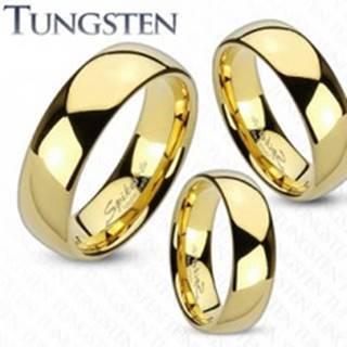 Prsteň z wolfrámu zlatej farby, zaoblený a hladký povrch, zrkadlový lesk, 8 mm - Veľkosť: 49 mm