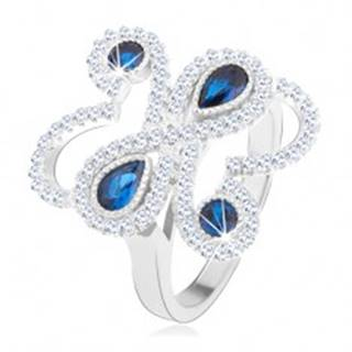 Prsteň zo striebra 925, ligotavé zvlnené línie, modré zirkóny - Veľkosť: 52 mm
