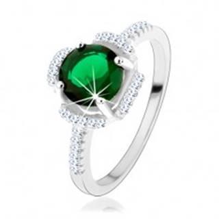 Prsteň zo striebra 925, zelený kvietok, lupene z čírych zirkónov - Veľkosť: 50 mm