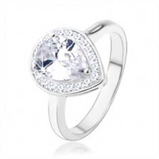 Strieborný 925 prsteň, číra kvapka - zirkón, trblietavý lem, výrezy - Veľkosť: 48 mm