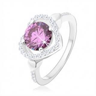 Strieborný 925 prsteň, okrúhly zirkón tanzanitovej farby v kontúre srdca - Veľkosť: 49 mm