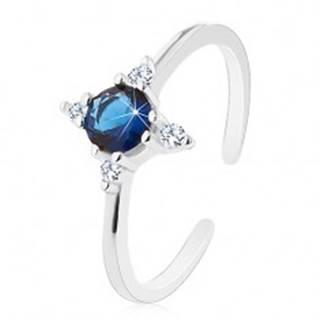 Strieborný prsteň 925, úzke rozdelené ramená, tmavomodrý zirkón, číre zirkóniky - Veľkosť: 51 mm