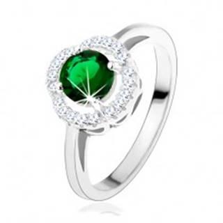 Zásnubný prsteň, okrúhly zelený zirkón, zvlnený lem čírej farby, striebro 925 - Veľkosť: 49 mm