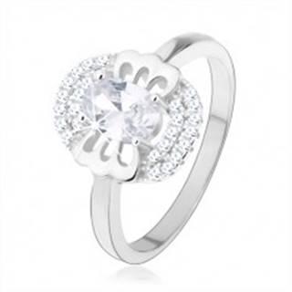 Zásnubný prsteň, striebro 925, číry zirkón - motýlik, zdvojený lem - Veľkosť: 49 mm